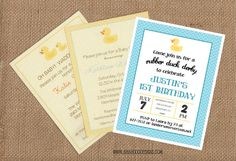 RUBBER DUCK Invitation multiple styles  Full by BabadooStationery, $14.00