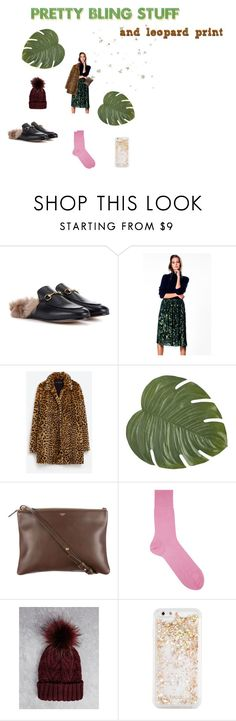 """bling & leopard"" by pomeline-duchesse ❤ liked on Polyvore featuring Gucci, Pier 1 Imports, CÉLINE, Falke, Bershka, ban.do, ootd, zara, gucci and bellerose"