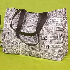Newspaper print large tote bag - so funky!