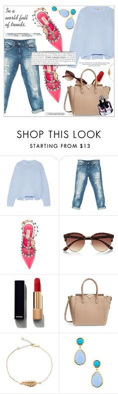 """Untitled #328"" by natalie1523 ❤ liked on Polyvore featuring Acne Studios, Sans Souci, Valentino, River Island, Chanel, H&M and Yves Saint Laurent"