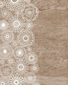 Woodgrain Faux Bois White Spirograph Home Decor Art Print  -  8 x 10. $16.00, via Etsy.
