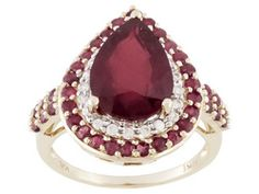 4.75ct Pear Shape Mahaleo(R) Ruby With .75ctw Thai Rubies And .25ctw White Zircon 10k Gold Ring