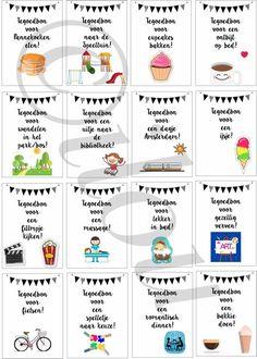 Cadeaubonnen! Print ze uit, zet ze in een pot en bij verveling haal er 1 uit. Voor meer info: info@ilou.nl #diy #kids Little Presents, Diy Presents, Diy Gifts, Kids Planner, Teachers' Day, Kids Corner, Gifts For Coworkers, Diy Birthday, Kids And Parenting