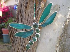 Stained Glass Dragonfly Aqua Blue Green by DesertGirlGlass
