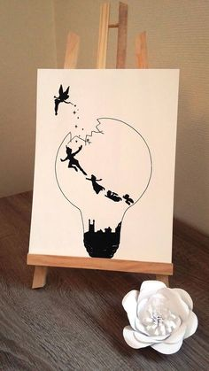 "Poster Illustration black and white bulb ""Peter pan and Tinker Bell"" Affiche Illustration Noir et blanc ampoule Peter pan et Peter Pan Art, Peter Pan Kunst, Peter Pan Drawing, Disney Drawings Sketches, Art Drawings Sketches Simple, Pencil Art Drawings, Easy Drawings, Drawing Simple, Art Disney"
