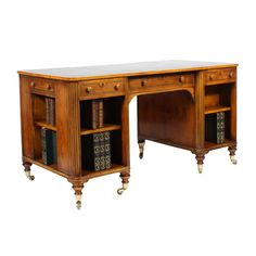A William IV Style Library Desk   From a unique collection of antique and modern desks at https://www.1stdibs.com/furniture/storage-case-pieces/desks/