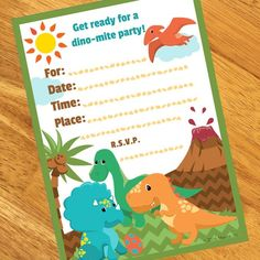 Little Dinosaur Party Invitations (8)