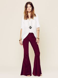 burgundy corduroy bell bottoms by free people