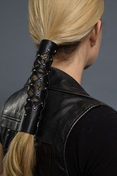 Silver Snaps HAIR GLOVE  Black Leather  12in.long ponytail holder..