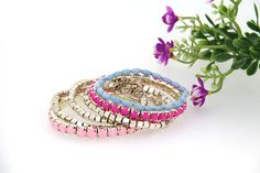 Stylish Resin Alloy Pink MultIlayer Handmade Bracelet Women Bangle Bracelet Charm Jewelry