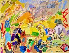 Pintores-espanoles. Actuales-contemporaneos.-merello.-caballos del sol (73x92 cm)mixta-tabla