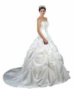 New Stock Embroidery Taffeta Wedding Dress Bridal Gown Size:6,8,10,12,14,16