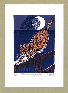 Marmelade de chat au clair de lune - édition limitée à la main tiré de linogravure - tirage d'Art contemporain