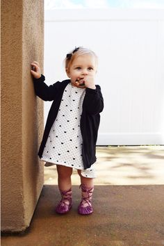 BABY FASHION   Baby Heart Dress, Baby Lace Up Ballet Flats, Black Baby Cardigan
