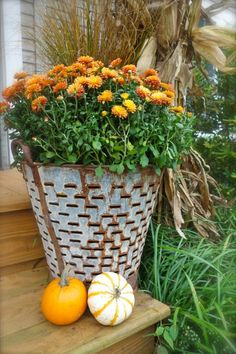 Fall Porch Decorating with a vintage olive bucket, pumpkins and corn stalks - Fall/Thanksgiving - Olive Bucket, Pumpkin Planter, Fall Mums, House With Porch, Thanksgiving, Porch Decorating, Decorating Ideas, Front Door Decor, Fall Harvest