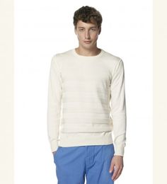 Organic Cotton sweater with textured stripes - http://www.muriee.com/men/new-arrivals/nils-off-white.html
