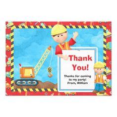 Pajamas and pancakes birthday party thank you card party thank construction birthday party thank you invitations stopboris Choice Image