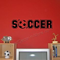Soccer with Ball, Kids Wall Decal | Removable Wall Word Art for Kids Room Decorating