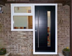 FunkyFront contemporary front door, Cologne 4, Frame 1 painted RAL 9011 Graphite Black Kloeber 37140