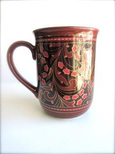 Vintage Coffee Mug  Brown  Red Japan Cherry by LemonRoseStudio, $14.50