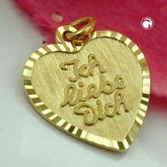 Anhänger Herz -Ich liebe Dich-, 9Kt GOLD  Mitte mattiert, Rand fein diamantiert, mit Schriftzug