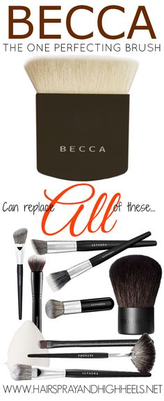 Becca The One Perfecting Brush. This brush is a true multi-tasker. They say it cuts makeup application in half by replacing 10 makeup brushes & tools. Makeup Kit, Makeup Tools, Skin Makeup, Beauty Makeup, Beauty Brushes, Makeup Brushes, Becca Cosmetics, Basic Makeup, Makeup Obsession
