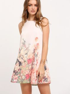 Vestido sin manga flor -multicolor-Spanish SheIn(Sheinside) Sitio Móvil