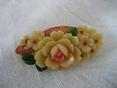 Celluloid Jewelry | VINTAGE Carved Celluloid Flower Jewelry Brooch by abandc on Etsy