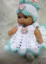 CROCHETED DOLL CLOTHES/ SET FOR 5INCH BERENGUER DOLL OR SIMILAR,OOAK