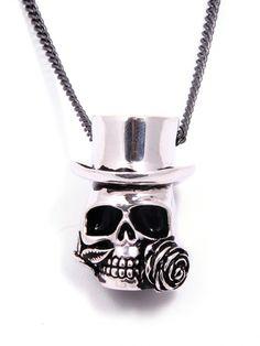 """Baron Samedi Skull"" Necklace by Lost Apostle (Antique Silver) #inked #inkedshop #inkedmagazine #jewelry #necklace"