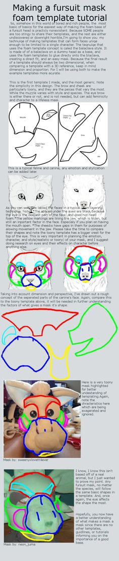 I don't know if you could really count this as a tutorial, but I tried . If for whatever reason you won't make a template yourself, stick aro. Making your own fursuit mask template tutorial Make Your Own, Make It Yourself, How To Make, Fursuit Tutorial, Fursuit Head, Wolf Costume, Puppet Patterns, Marionette, Tutorials