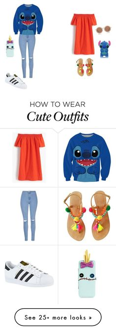 inspired by lilo and stitch friends outfit by mischa-hemmings on Polyvore featuring J.Crew, House of Holland, Glamorous and adidas