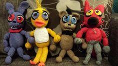 Crochet 5 night's at freddies plushies. Etsy pattern https://www.etsy.com/listing/225540280/5-nights-at-freddies-crochet-dolls