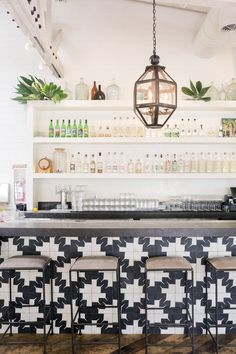 Gracias Madre Restaurant, West Hollywood, Los Angeles: the dramatic bar front is clad in black-and-white encaustic tile from Oaxaca, Mexico Commercial Design, Commercial Interiors, Home Design, Design Blogs, Design Ideas, Café Bar, The Design Files, Beautiful Space, Beautiful Kitchen