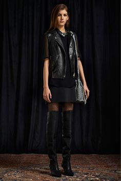 3.1 Phillip Lim Pre-Fall 2013 black leather vest OTK boots outfit runway fashion