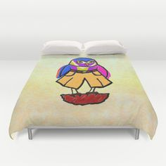 Colorful Owl in Trousers Duvet Cover by Jan4insight   Society6