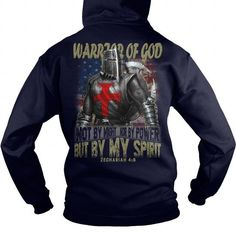 I Love [950 sold] Warrior Of God us flag NOT BY MIGHT NOR BY POWER BUT BY MY SPIRIT ZECHARIAH US CHRISTIAN KNIGHT Tshirts