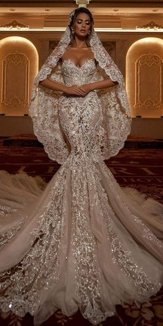 Trumpet Wedding Dresses That Are Fancy And Romantic ★ #bridalgown #weddingdress Extravagant Wedding Dresses, Muslim Wedding Dresses, Stunning Wedding Dresses, Wedding Dress Sleeves, Dream Wedding Dresses, Bridal Dresses, Wedding Dress Bling, African Wedding Dress, Mermaid Dresses