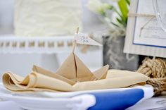 Great paper boat place card.