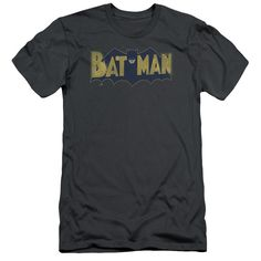 BATMAN/VINTAGE LOGO SPLATTER - S/S ADULT 30/1 - CHARCOAL -