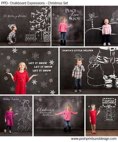 i think im going to buy these for christmas mini session !!  Chalkboard Expressions: Christmas  - Photoshop Template Overlays and Brushes