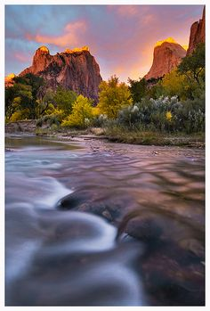 """""""The Light of Zion,"""" Sunrise at Court of the Patriarchs, Zion National Park, Utah. Photo: Joseph Rossbach via Flickr"""