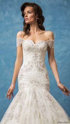 amelia sposa 2017 bridal off the shoulder sweetheart neckline full embellishment glamorous elegant fit and flare mermaid wedding dress royal train (rosa) zv