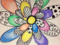 I created this using sharpies and color pencils to teach line, pattern, design, and value to my 3rd, 4th and 5th grade art students....flower power