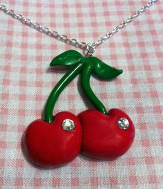 Cute Cherry Necklace by TheCraftyTash on Etsy