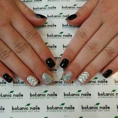 Grey chevron with silver glitter nails by botanicnails - @emma_lineee