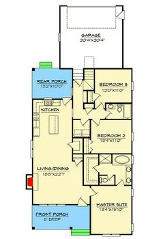 Cottage for Narrow Lot - 15044NC floor plan - Main Level