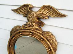 "Large Vintage Eagle Port Hole Wall Mirror~23"" x 14 1/2"" Gold Mirror Wall Hanging Nautical Navy Hollywood Regency Bathroom Bedroom Beach"