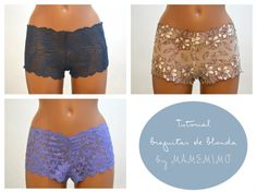 Ideas regalo: culotte de blonda con tutorial Going to use for Roller Derby Booty Shorts Sewing Clothes Women, Sewing Pants, Diy Clothes, Lace Boy Shorts, Maternity Sewing, Underwear Pattern, Sewing Lingerie, Designer Lingerie, Stretch Lace