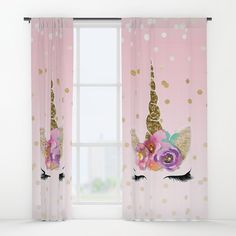 Floral Trendy Modern Unicorn Horn Gold Confetti Window Curtains by Christyne 20785a8cc8066